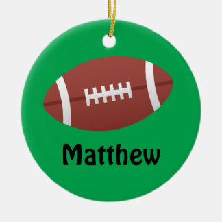 Cartoon football green personalized name ornament