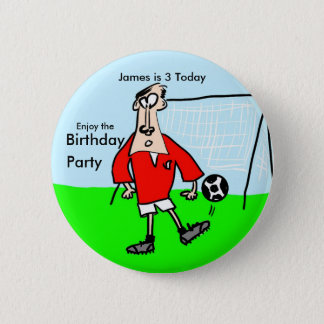 Cartoon footballer on the field with goal behind 6 cm round badge