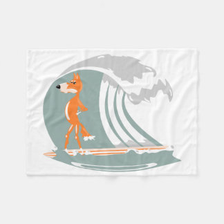 Cartoon Fox on a Surfboard Fleece Blanket