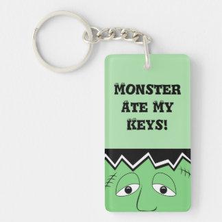 Cartoon Frankenstein Monster Face Double-Sided Rectangular Acrylic Key Ring