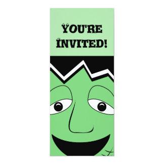 "Cartoon Frankenstein Monster Face 4"" X 9.25"" Invitation Card"