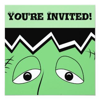 Cartoon Frankenstein Monster Face 5.25x5.25 Square Paper Invitation Card