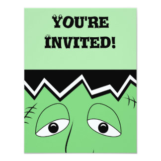 Cartoon Frankenstein Monster Face 11 Cm X 14 Cm Invitation Card