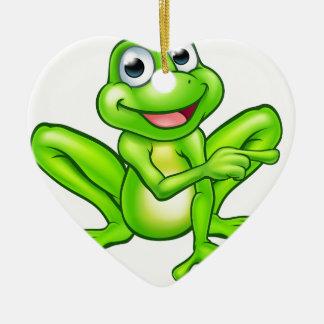 Cartoon Frog Pointing Ceramic Heart Decoration