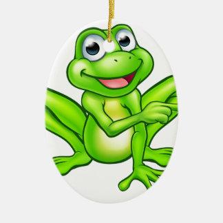 Cartoon Frog Pointing Ceramic Oval Decoration