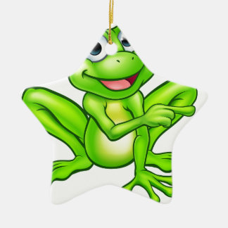 Cartoon Frog Pointing Christmas Ornament