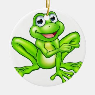 Cartoon Frog Pointing Round Ceramic Decoration