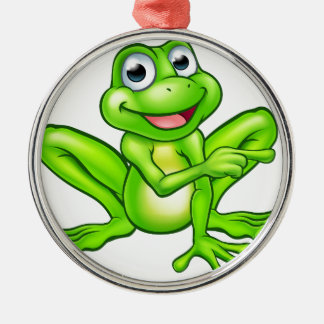 Cartoon Frog Pointing Silver-Colored Round Decoration