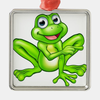 Cartoon Frog Pointing Silver-Colored Square Decoration