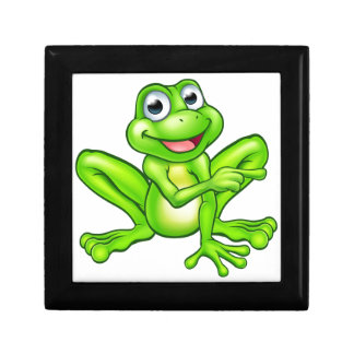 Cartoon Frog Pointing Small Square Gift Box