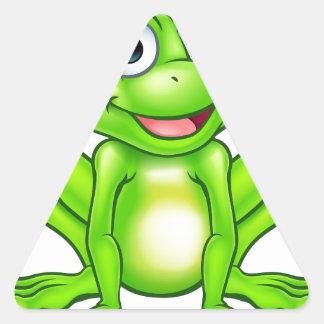 Cartoon Frog Prince Kiss Triangle Sticker