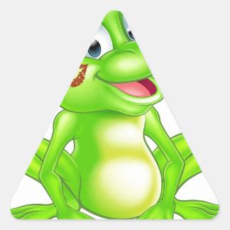 Cartoon frog prince triangle sticker