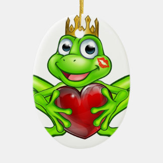 Cartoon Frog Prince with Love Heart Ceramic Oval Decoration
