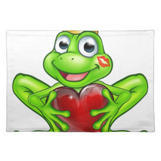Cartoon Frog Prince with Love Heart Placemat
