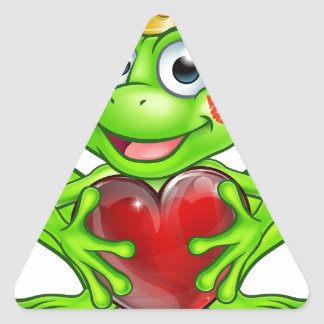 Cartoon Frog Prince with Love Heart Triangle Sticker