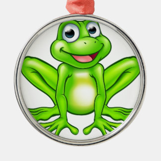 Cartoon Frog Silver-Colored Round Decoration