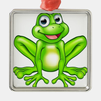 Cartoon Frog Silver-Colored Square Decoration