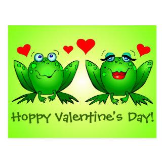 Cartoon Frogs Love Hoppy Valentines Day Green Postcard