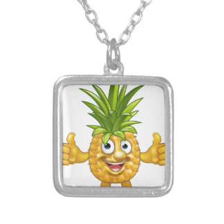 Cartoon Fruit Pineapple Mascot Character Silver Plated Necklace