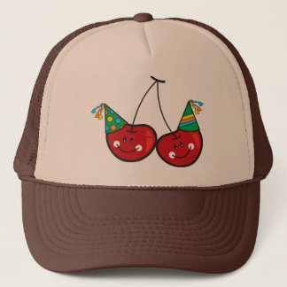 Cartoon Fun Comic Funny Cheeky Red Cherries Cherry Trucker Hat
