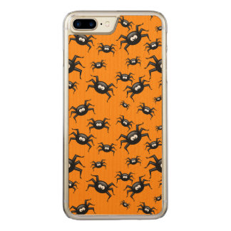 cartoon funny black spiders over yellow background carved iPhone 8 plus/7 plus case