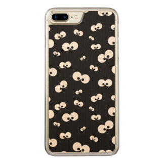 cartoon funny eyes over black background carved iPhone 8 plus/7 plus case