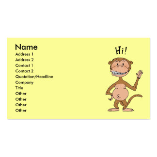 Cartoon funny monkey (Hi!) Business Card Template