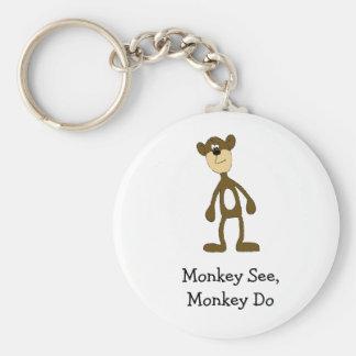 Cartoon Gang Monkey Basic Round Button Key Ring