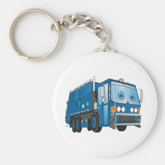 Cartoon Garbage Truck Blue Key Ring