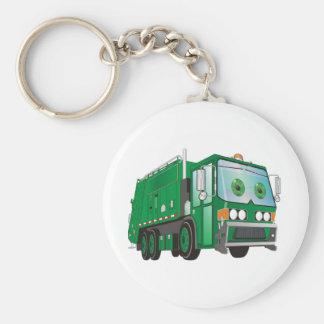 Cartoon Garbage Truck Green Basic Round Button Key Ring