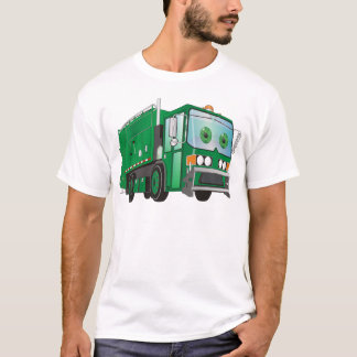 Cartoon Garbage Truck Green T-Shirt