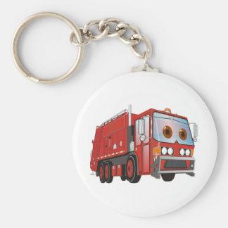 Cartoon Garbage Truck Red Basic Round Button Key Ring