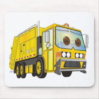 Cartoon Garbage Truck Yellow Mouse Pads
