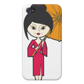 Cartoon Geisha Lady iPhone 4 Cases