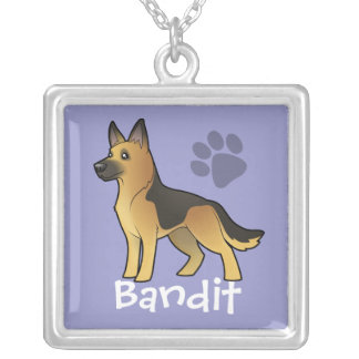 Cartoon German Shepherd (add your pets name) Silver Plated Necklace