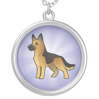 Cartoon German Shepherd Silver Plated Necklace