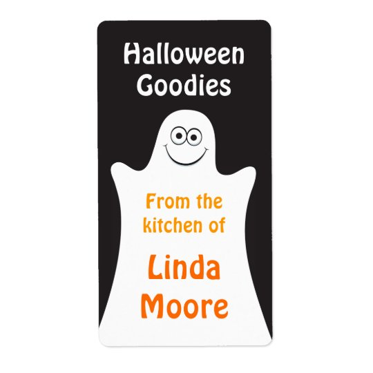 Cartoon ghost Halloween kitchen label