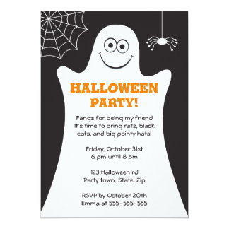 Cartoon ghost kids Halloween party invitation