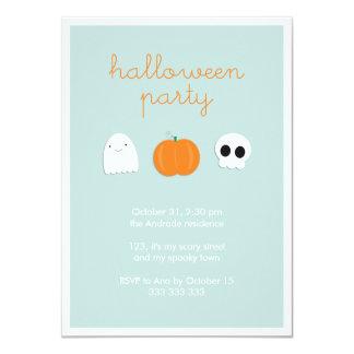 "Cartoon Ghost Skull Pumpkin Cute Halloween Party 4.5"" X 6.25"" Invitation Card"