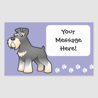 Cartoon Giant/Standard/Miniature Schnauzer Rectangular Sticker