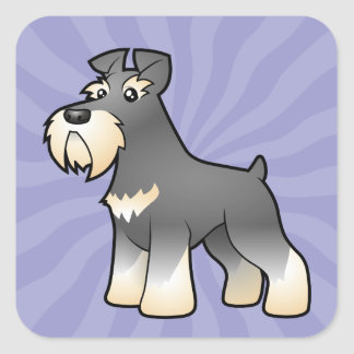 Cartoon Giant/Standard/Miniature Schnauzer Square Sticker