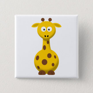 Cartoon Giraffe 15 Cm Square Badge
