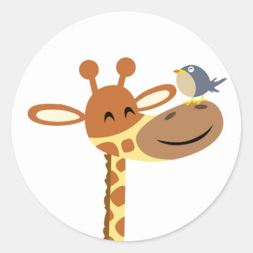 Cartoon Giraffe and Friend sticker