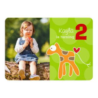 Cartoon Giraffe Kid Birthday Photo Invitation