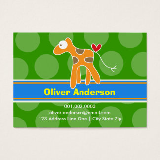 Cartoon Giraffe Kid Photo Profile Calling Card