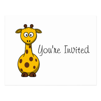 Cartoon Giraffe Kids Party Invitation Postcard