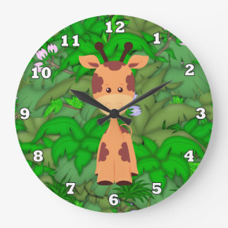 Cartoon Giraffe kids room wall clock