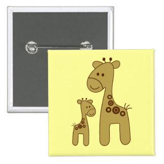 Cartoon Giraffe Print Square Button