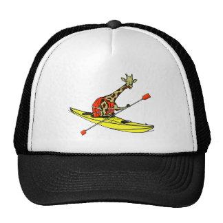 Cartoon giraffe sea kayaking cap