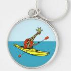 Cartoon giraffe sea kayaking key ring